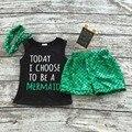2016 meninas do bebê conjuntos de roupas de verão preto verde sereia boutique curto chegada nova roupa dos miúdos roupas com headband set