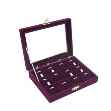 Fashion 12 Slots Purple color Jewelry Accessories box necklaces & pendants display box ring Wedding gift birthday Free Shipping