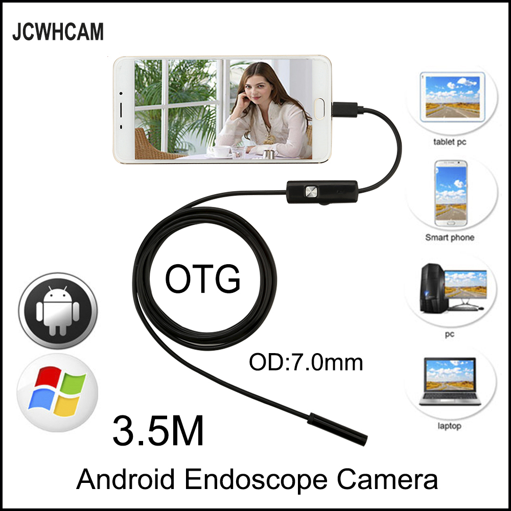 JCWHCAM 3.5M Mini Android Endoscope Snake OTG USB 7mm Lens IP67 Waterproof Borescope Pipe Inspection Camera