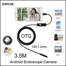 JCWHCAM 3.5M Mini Android Endoscope Snake OTG USB Endoscope 7mm Lens IP67 Waterproof USB Borescope Pipe Inspection Camera 5 5 7 8mm lens usb endoscope camera ip67 waterproof snake camera inspection borescope for windows