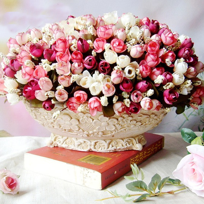 15 Heads Roses Bract Simulation Flowers Silk Rose Flowers For Decorative Home Wedding Party Festival P20