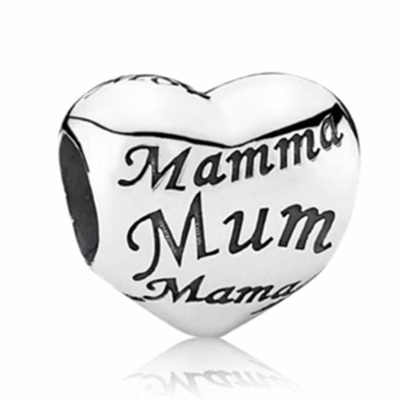 NEW Heart Mum DIY Jewelry Charms Bead Fit Pandoraa Bracelet & Necklaces Pendant Authentic Beads Jewelry Making Women Gift