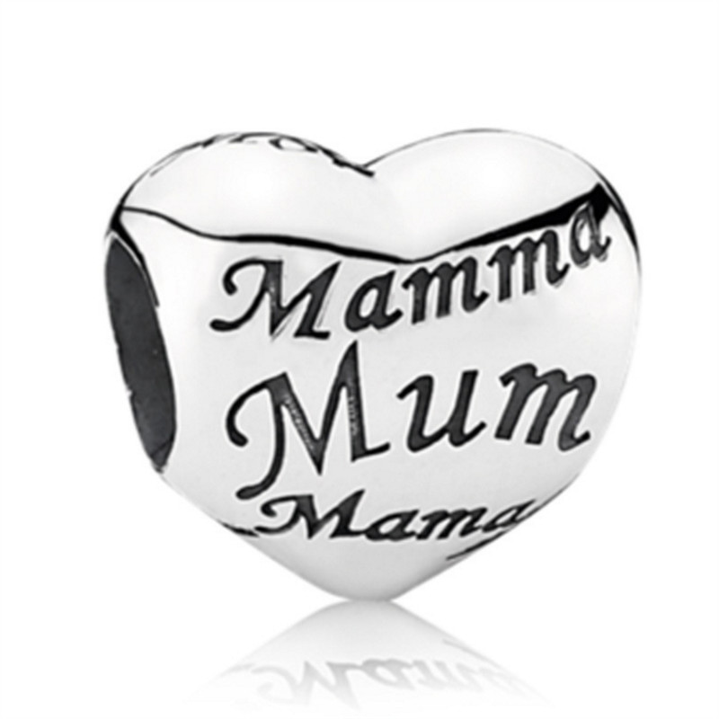 NEW Heart Mum DIY Jewelry Charms Bead Fit Pandoraa Bracelet Necklaces Pendant Authentic Beads Jewelry Making