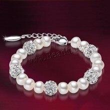 Free Transport Freshwater 100% Pure Actual Pearl Bracelet White Pearls Girls Bracelet Pearl Jewellery 925 Sterling Silver de perle