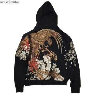 Image 5 - AreMoMuWha jesienią i zimą japoński ciężki haft męska bluza z kapturem Cherry Suzaku haft Harajuku czarny HoodieQX1096