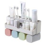 Дома поглощения стены Ванная комната Зубная щётка стойка для зубных паст Организатор автоматический комплект для зубной пасты пластик сте...