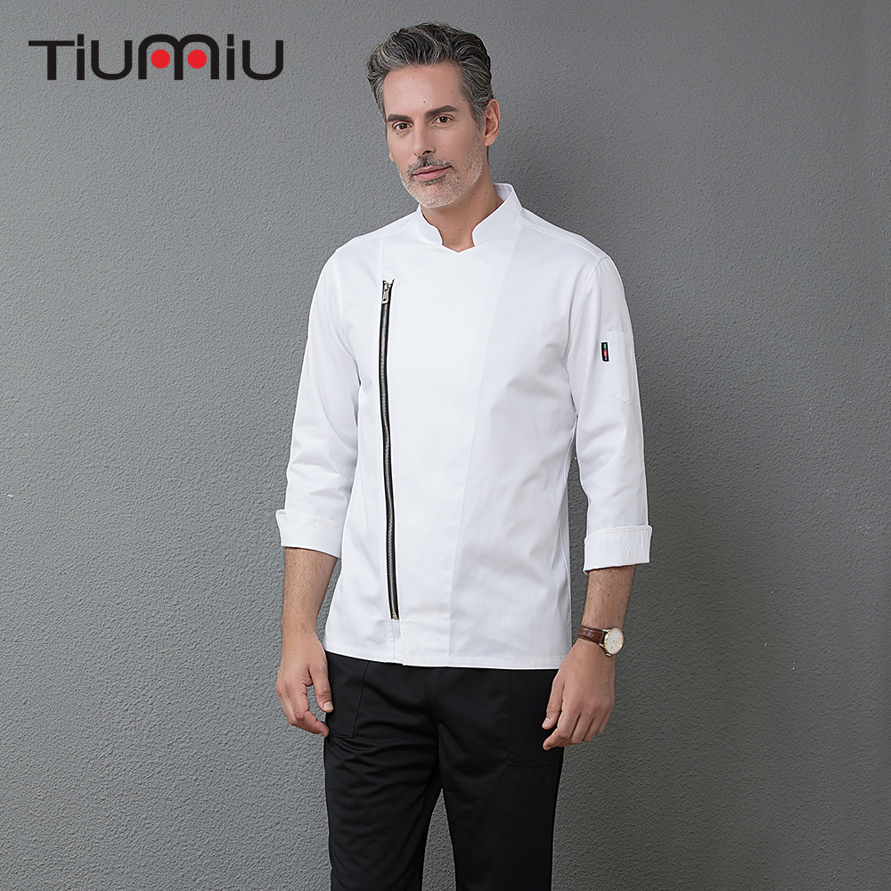 2018 New Zipper Chef Long Sleeve Jackets Professional Top Restaurant Hotel Waiter Work Uniforms Cozinha Cocina Catering Cocinero