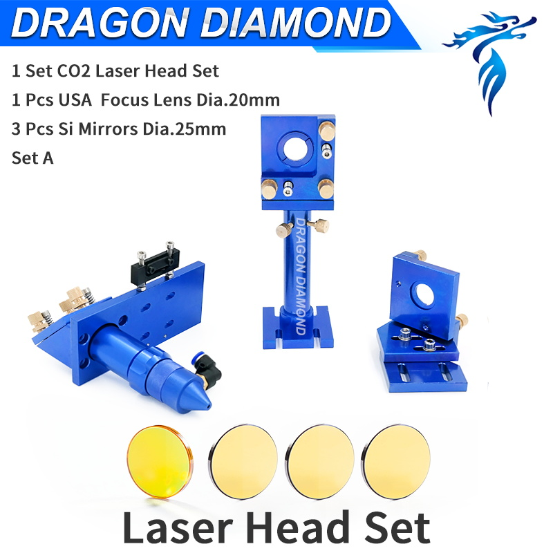 CO2 Laser Head Set Focus Lens Dia. 20mm FL 50.8mm 63.5mm 101.6mm Mirror Dia.25mm Mounts for CO2 Laser Engraving Machine aluminum co2 laser head set dia 20mm znse focal focus lens fl 50 8mm integrative mount dia 20mm si reflective mirror