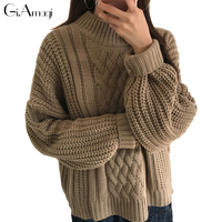 Pullover Women 2017 New Large Size Sweater Women Bat Sleeves Sweater Autumn And Winter Twist Knitted