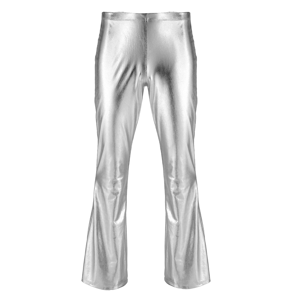 Adult Mens Moto Punk Style Party Pants Shiny Metallic Disco Pants with Bell Bottom Flared Long Pants Dude Costume Trousers 22