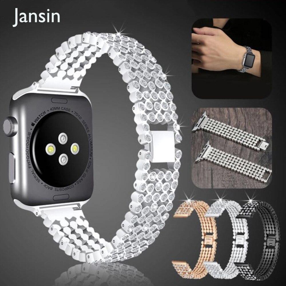 Elegante cristal de diamante correa para Apple Watch banda 38mm 42mm lujo Acero inoxidable bandas de reemplazo para la serie iwatch 1 2 3