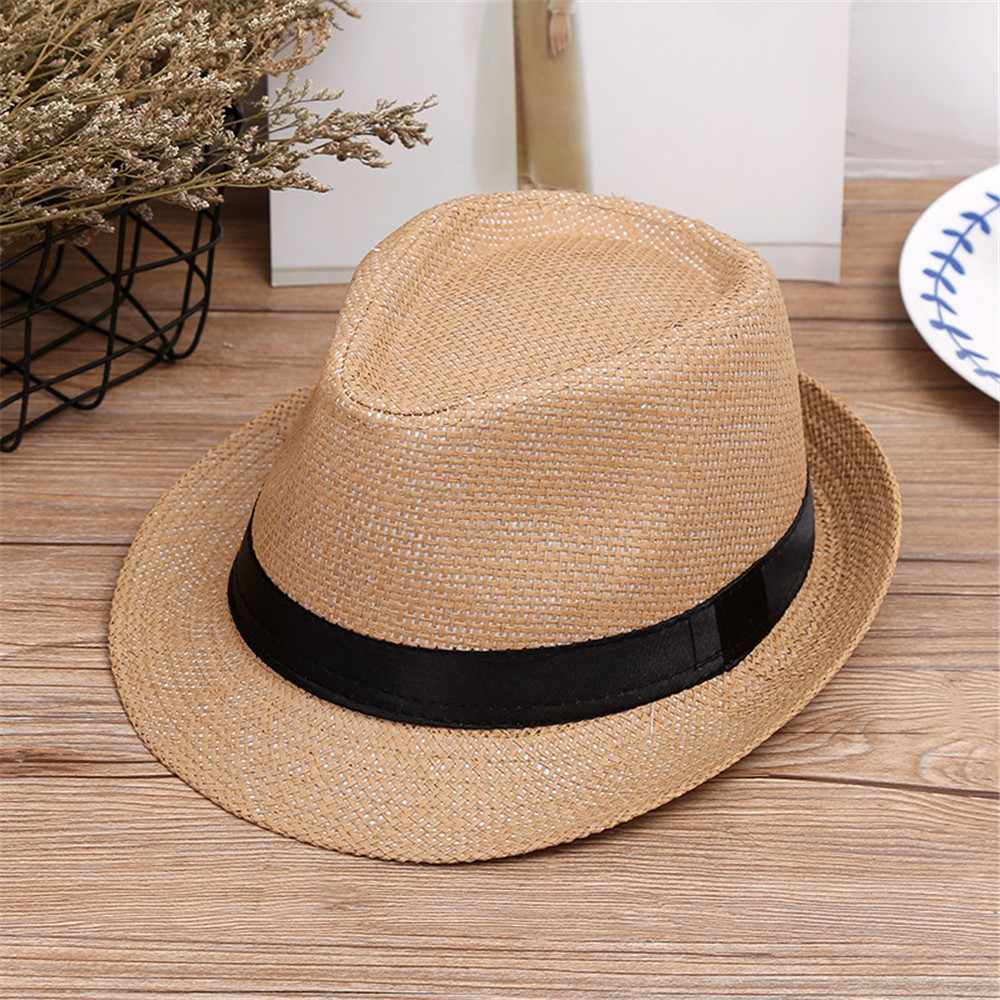 4b0f402e688 Beach Straw Hat Jazz Panama Trilby Fedora Hat Gangster Cap Children  KidsMM5.7