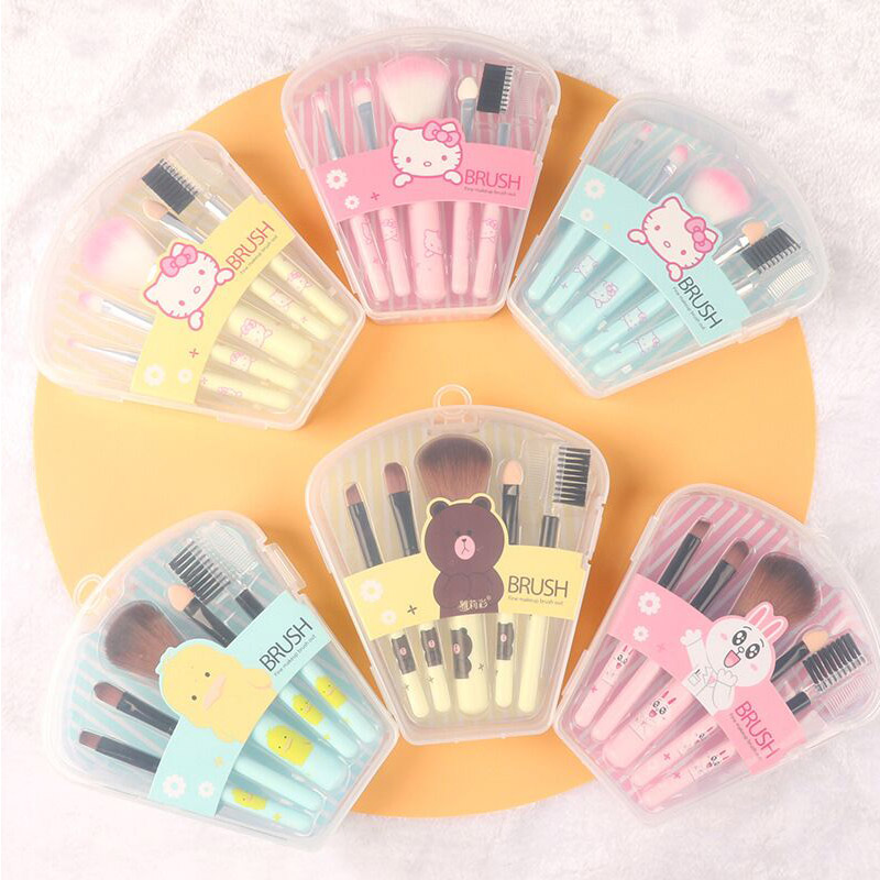 KT 5 Branches Cartoon Cosmetic Brush Fan Box Portable Mini Brush Makeup Tools