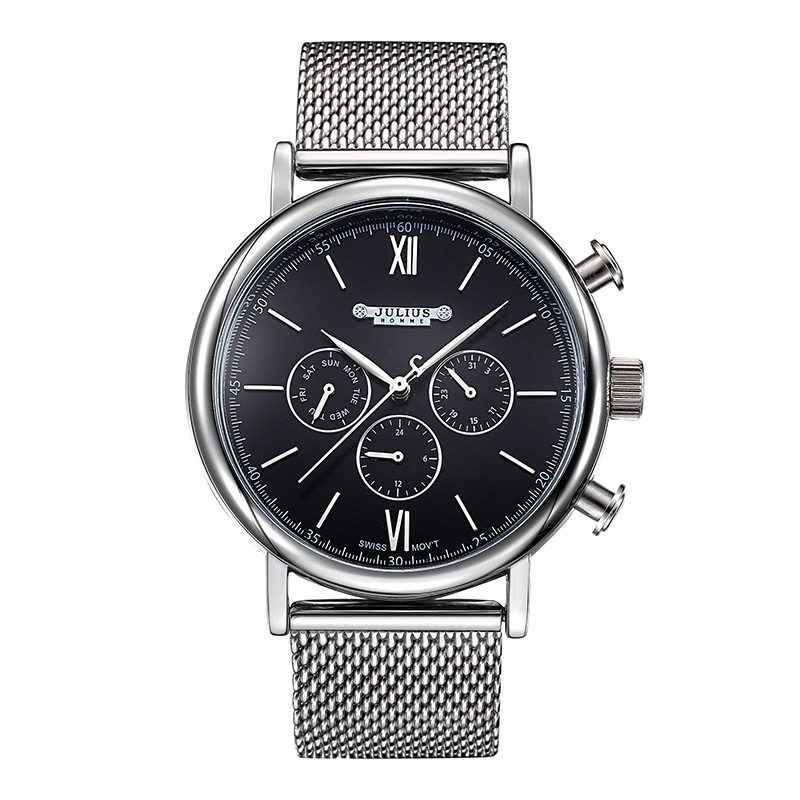 New Julius Men's Homme Wrist Watch Fashion Hours Dress Bracelet ISA Mov Stainless Steel Business School Boy Birthday Gift 090 real functions men s watch isa mov t hours clock fine fashion dress stainless steel bracelet boy s birthday gift julius