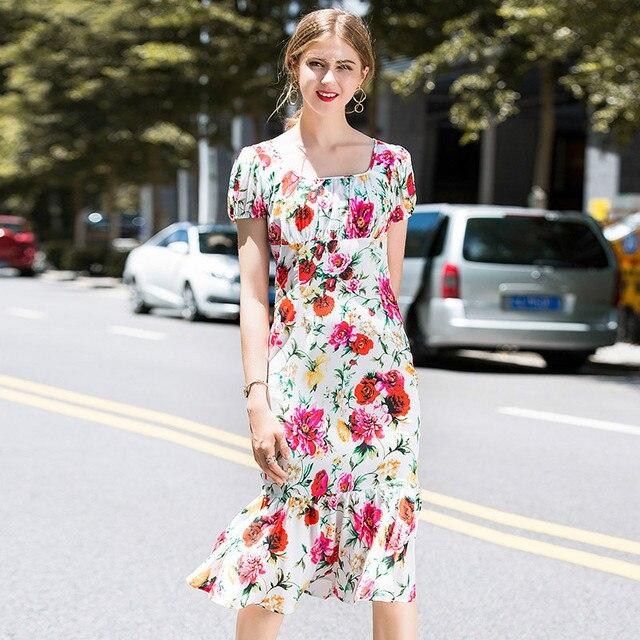 design intemporel 1ff28 ff6ea Robe femme été 2018 nouvelles fleurs imprimé col en v à manches courtes  Slim élégant Vintage sirène robe Midi S XL livraison gratuite