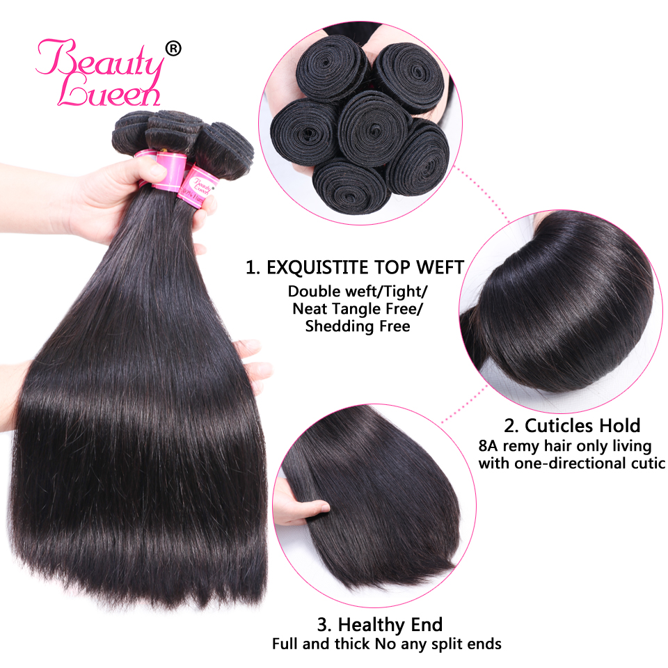 Brazilian Straight Hair Weave 3 Bundles With Closure Tissage Cheveux Humain Remy Brazillian Human Hair Bundle Deals With Closure