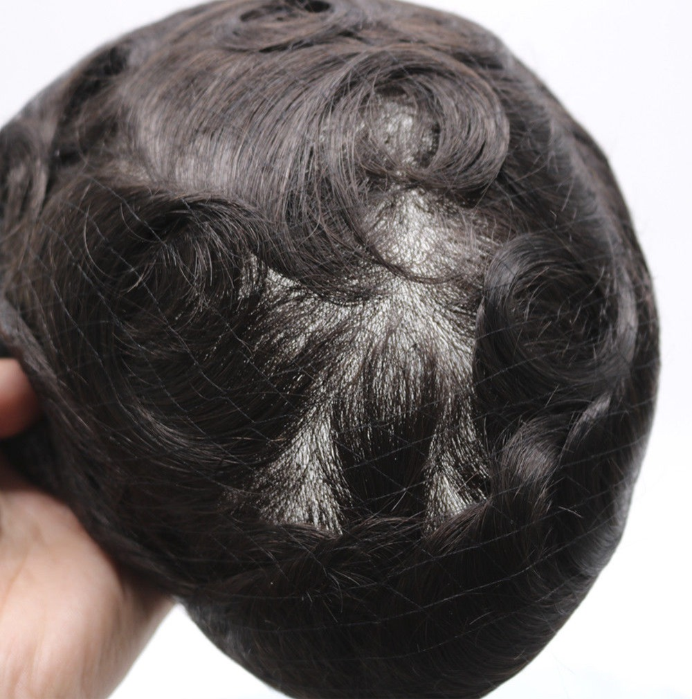 Eversilky V Loop Mens Hairpieces Toupee Super Invisible Thin Skin Natural Black Mens Toupee Hair Replacement