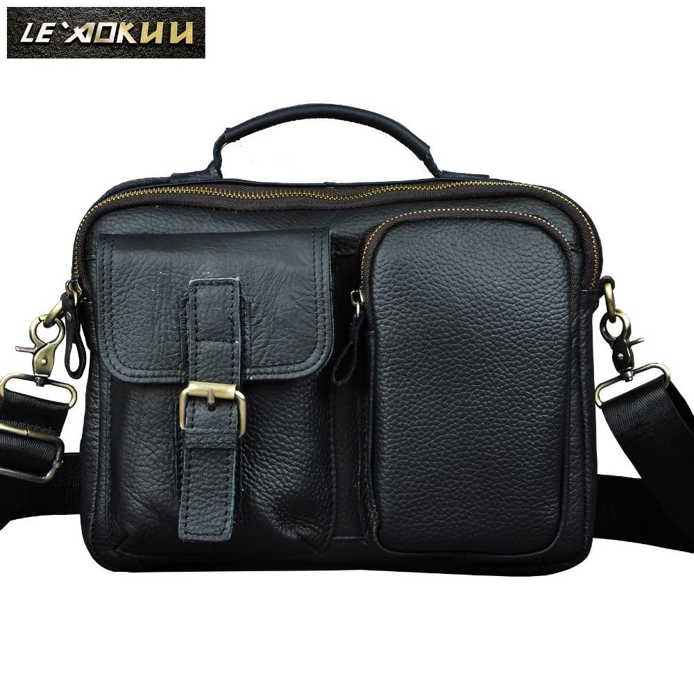 Quality Original Leather Male One Shoulder messenger bag cowhide fashion Cross-body Bag 9 Pad Tote Mochila Satchel bag 036b