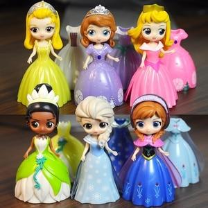 Image 1 - 6pcs Frozen Elsa Snow White Princess Change Clothes Dolls Dress Figurines Anime Action Figures Girls Toys Birthday Gift