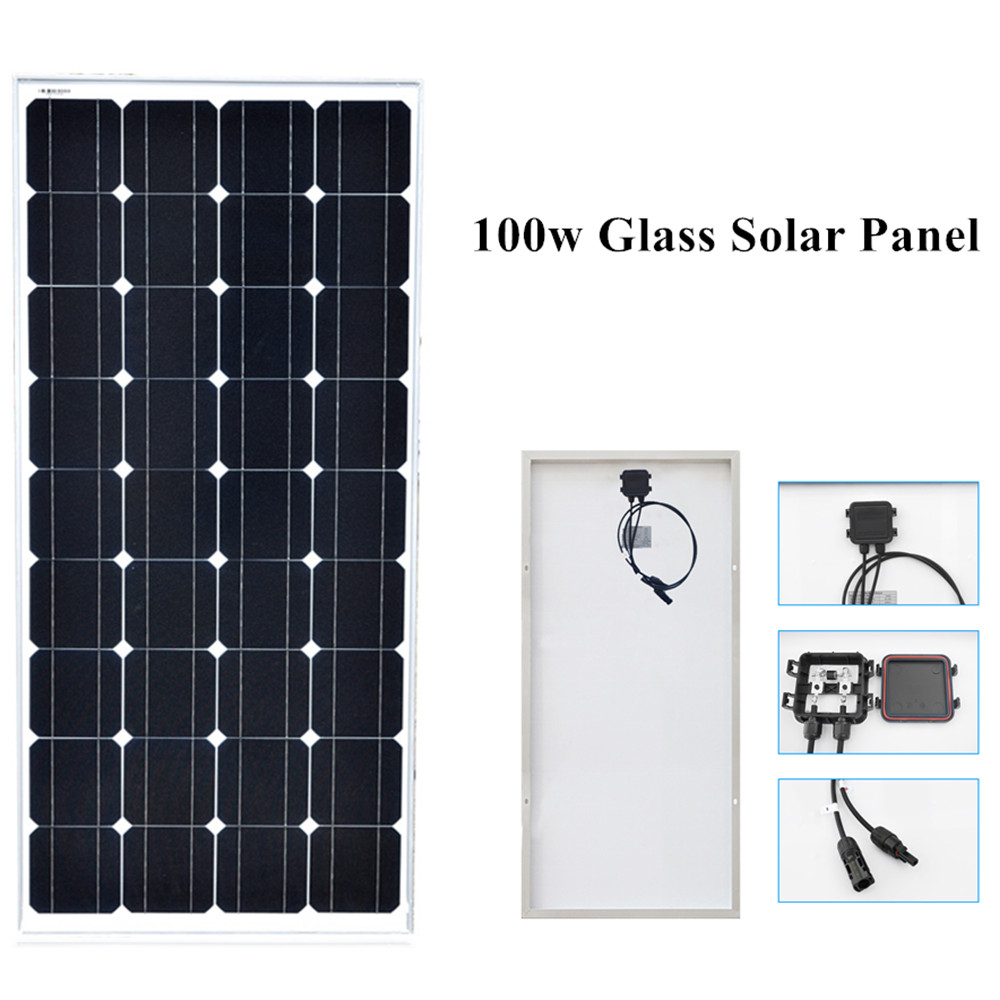 100 Вт монокристаллический панели солнечных батарей клетки модуль закаленное стекло Алюминий раме рассчитан на 12v батарея RV/автомобиль/лодо