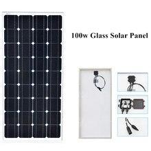 100 w монокристаллический Солнечная панель с ячеистой структурой модуль из закаленного стекла и алюминия рамка для 12 v батареи RV/car/морской/лодка свет мощность заряда