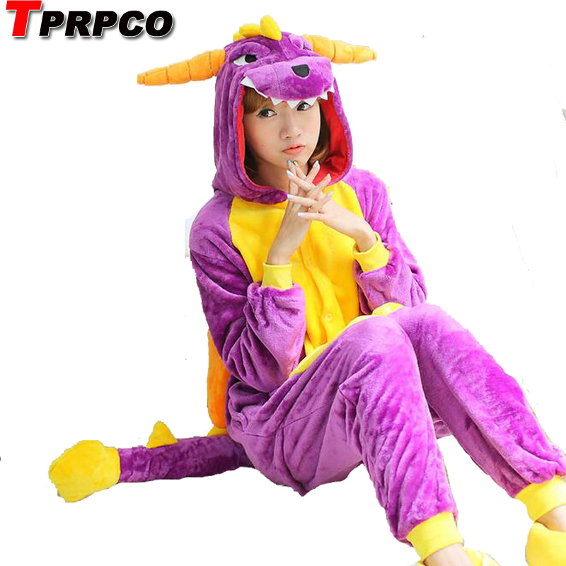 Onsies pajamas dinosaur costumes animal pajamas one piece onesies for adults Purple flannel dinosaur onesies dragon NL203