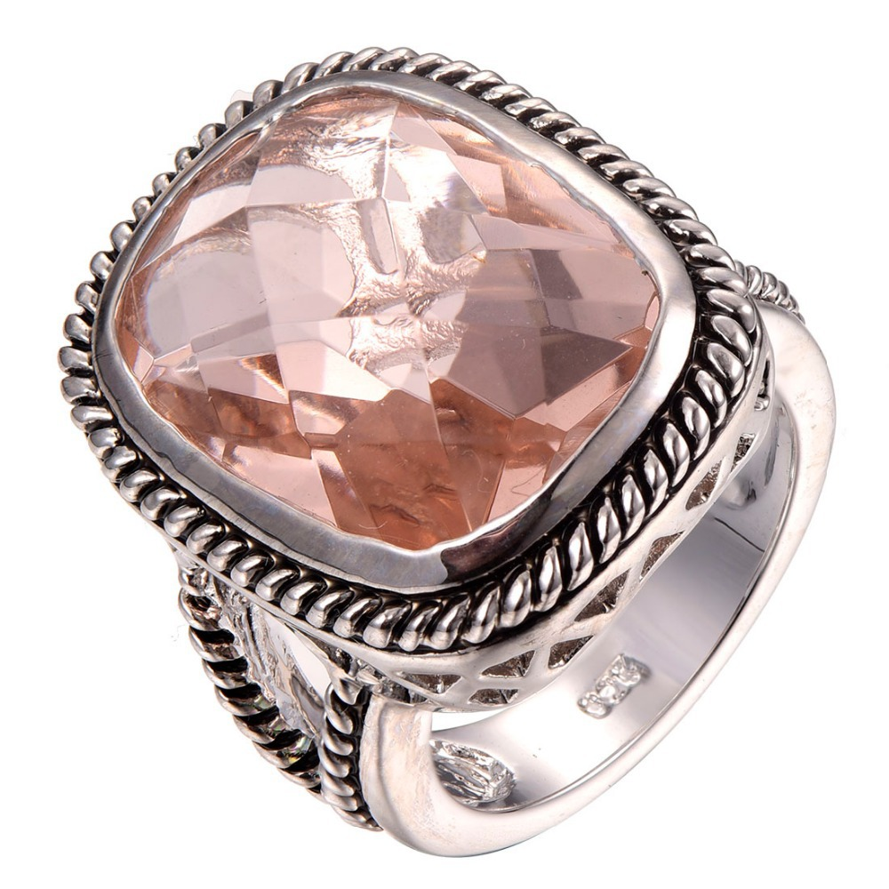 Good quality Huge Morganite 925 sterling silver Fashion Design Ring Size 6 7 8 9 10 F1284