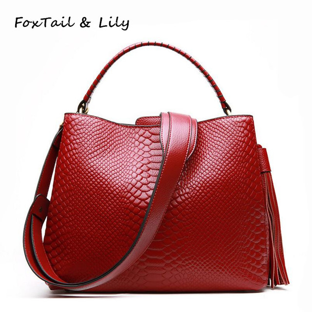 eb39edec8d14 FoxTail   Lily Brand Women Crocodile Genuine Leather Handbags Romantic  Tassel Female Luxury Designer Shoulder Crossbody