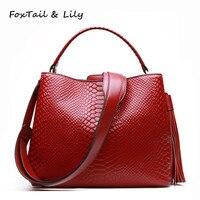 FoxTail & Lily Brand Women Crocodile Genuine Leather Handbags Romantic Tassel Female Luxury Designer Shoulder Crossbody Bags