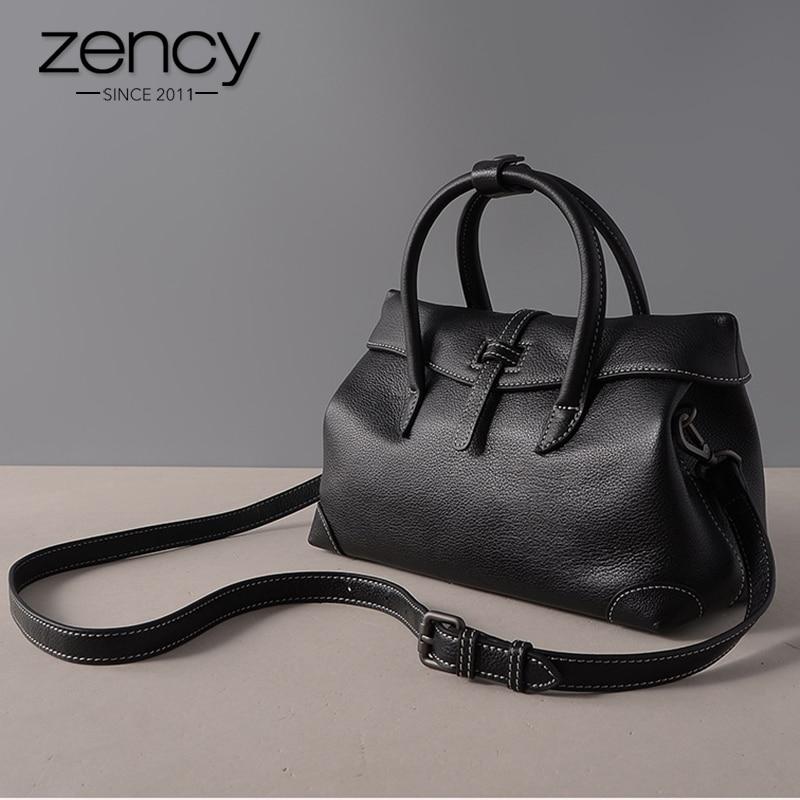 Zency Black Women Handbag 100 Cowhide Genuine Leather Fashion Simple Ladies Casual Tote Purse Female Crossbody