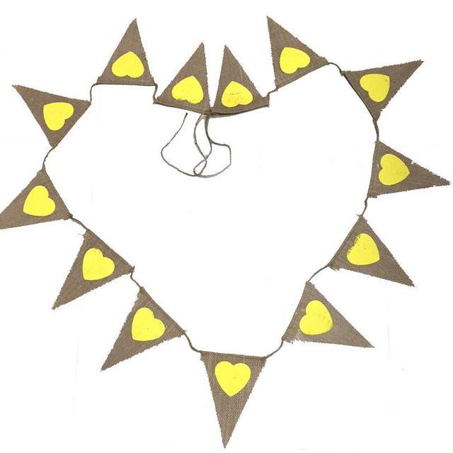 Love Heart Jute Rope Flax Triangle Banner Wedding Birthday