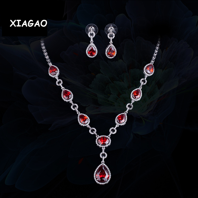 XIAGAO 4 colors European Royal Design Fashion Red Blue CZ  Womens Wedding Bridal Costume Jewelry Set For Brides