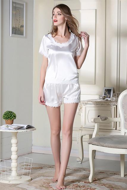 147fce56bb Tienda Online COSWE Para Mujer de Satén de Seda Pijamas Fijó Para ...