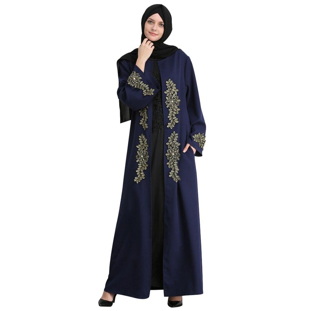 Women Embroidery Leaves Appliques Pearls Muslim Cardigan Abaya Long Robes Islamic  Clothing Kaftan Dubai Vestidos Turkish Dresses 4e5407305859