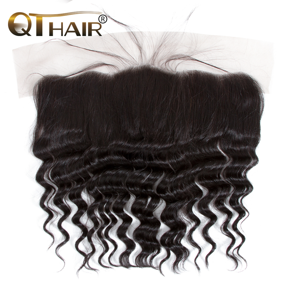 QT Malaysian Hair Loose Deep Wave Lace Frontal Closure Ear to Ear Pre Plucked 13x4 Swiss Lace Natural Color Remy Hair