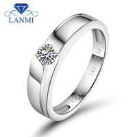 Certified Real Diamond Engagement Rings 0.20ct Diamond Platinum Diamond Solitaire Jewelry For Men And Women WU141