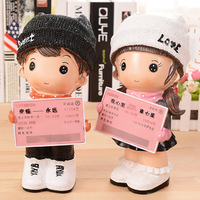 Love Hat Doll Coins Piggy Bank Home Decor Resin Train Ticket Souvenir Gifts 255mm Height Money