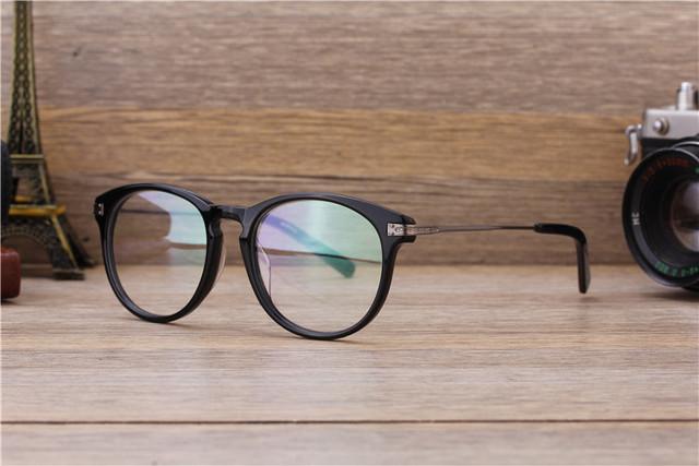Marca do vintage Moldura Redonda Óculos Homens Mulheres óculos de Acetato de Full-aro óculos de Miopia Lente Óptica Clara Prescrição Armação Dos Óculos Da Moda