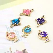 2pcs korean fashion space universe star moon planet earrings for women alloy drop oil  ladies diy handmade jewelry accessories