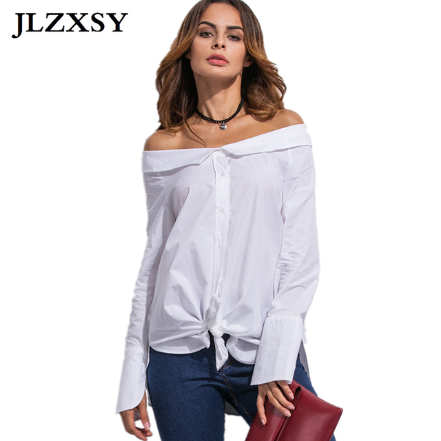 43e4d0aa JLZXSY Fashion Women Lady Sexy Off Shoulder Bow Tie Long Sleeve Autumn  Casual Button Down Blouse Solid White Shirt Tops
