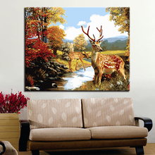 Autumn Forest Elk Animal Picture By Numbers DIY Painting Kits Hand painted On Linen Canvas Modern Home Decorative Unique Gift