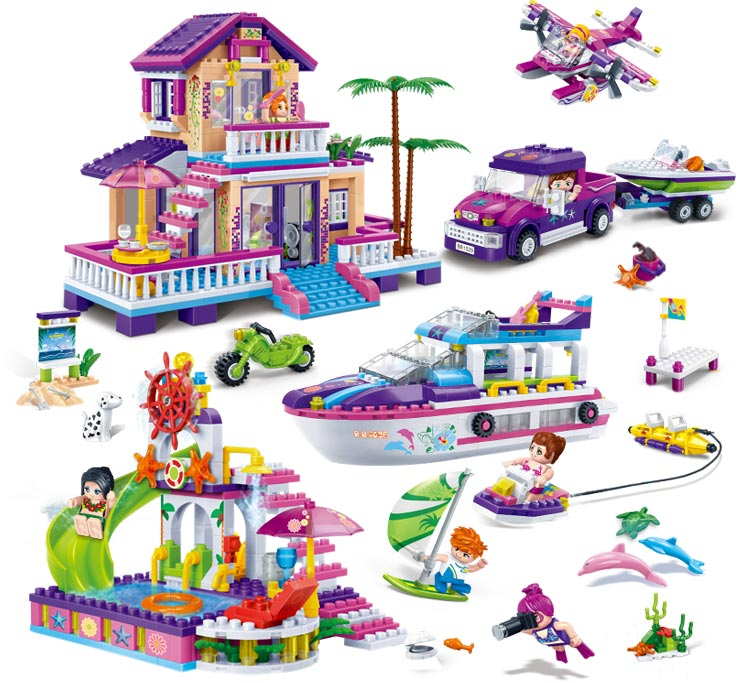 Model building kits compatible with lego city girls friends Gold Coast 1205 pcs 3D block Educational model building toys hobbies