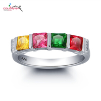 COLORFISH 1 2 Carat Four Stone Wedding Band Ring For Women Fashion Gem Jewelry 925 Sterling