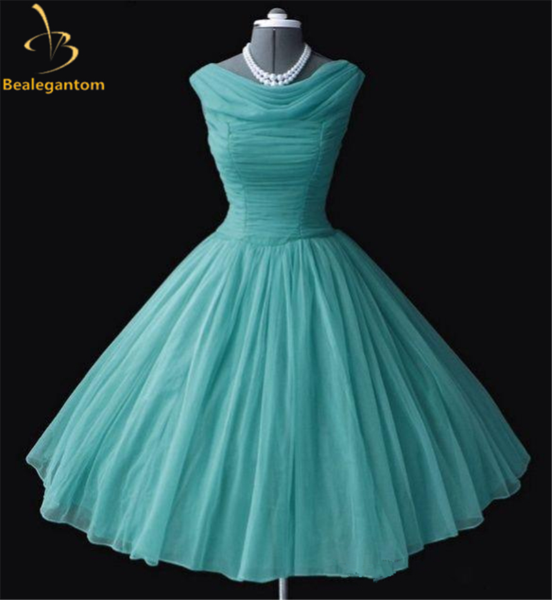 US $93.59 22% OFF|Bealegantom Vintage Prom Dresses 2019 Satin Plus Size  Short Evening Party Gowns 1950\'s 50s Vestido Robe Soiree QA1210-in Prom ...