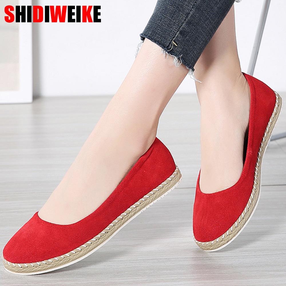 2019 Spring Women Ballet Flats Shoes   Leather     Suede   Slip on Flats Laides Casual Fisherman Loafers Shoes for Woman g030