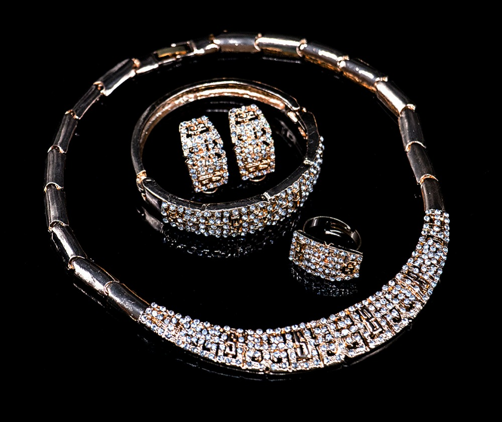 LAN PALACE bridal jewelry sets gold color ladies jewellery set earrings necklace ring bracelet free shipping