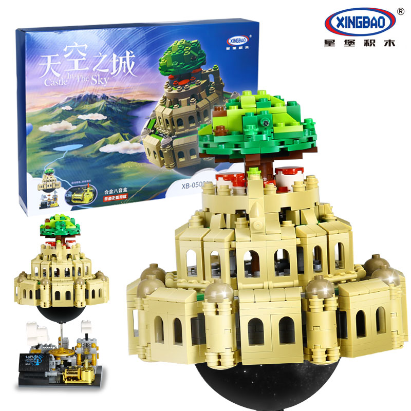 XingBao 05001 <font><b>LegoEDS</b></font> City <font><b>Castle</b></font> <font><b>in</b></font> <font><b>The</b></font> <font><b>Sky</b></font> Series Model Building Kit Stacking Block Bricks TOYS for Children Music Box Gifts image