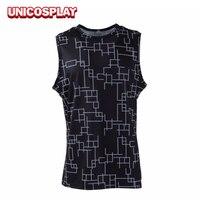 Final Fantasy XV Prompto Argentum T Shirt Cosplay Costume FF15 Men Tshirt Black Spandex Sleeveless Shirt