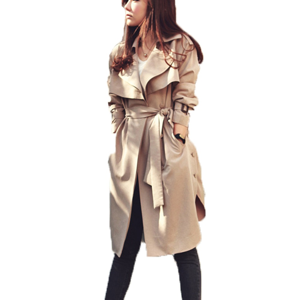 2018 Women   Trench   Coat Spring Autumn Plus Size Long Spring Coat With Belt   Trench   Coat for Women Casaco Feminino