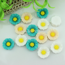 Set of 100pcs Resin Artificial Flower Flatback Embellishment Chic Poppy Cabochons Cab 19mm Assorted Colors Free Shipping